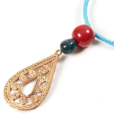Miharu Dhokra Radial Brass Pendant With Blue Color Thread Necklace