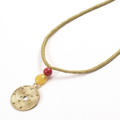 Miharu Dhokra Circular Brass Pendant With Sap Color Thread Necklace