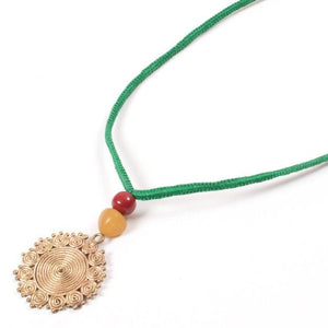 Miharu Dhokra Floral Brass Pendant With Green Color Thread Necklace