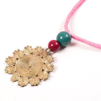 Miharu Dhokra Floral Brass Pendant With Pink Color Thread Necklace