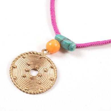 Miharu Dhokra Circular Brass Pendant With Pink Color Thread Necklace