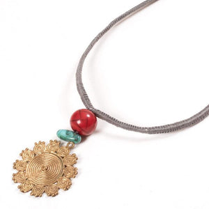 Miharu Dhokra Floral Brass Pendant With Grey Color Thread Necklace