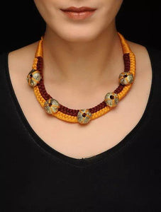 Miharu Dhokra Brown-Orange Choker Necklace