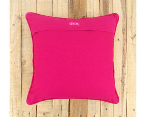 Pink and orange- tile print cushion cover