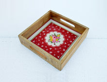 Wooden tray, rose print, shabby chic tray, vintage pattern, lacquered frame, no glass 10x10