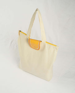 Natural cotton bag, yellow flap, reusable grocery bag, cloth tote bag, eco friendly bag, shopping bag, 18X16 inches
