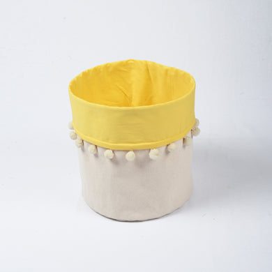 Storage basket, cotton canvas fabric, yellow, laundry hamper, boho bag, sizes available