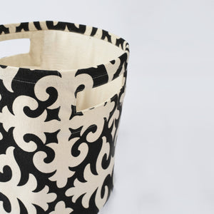 Storage basket, cotton canvas fabric, shyrdak print, black and white, storage basket, laundry basket, sizes available