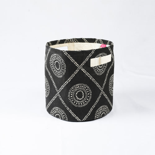 Storage basket, cotton canvas fabric, hamong print, black and white, storage basket, laundry basket, sizes available
