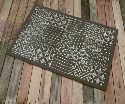 Cotton rug, brownish grey colour, geometric print, 100% cotton, tribal, rustic decor, rugs, small rug, size 24X36 inches