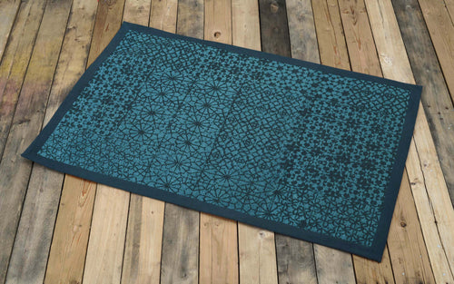 Cotton rug, teal colour, geometric print, 100% cotton, tribal, rustic decor, rugs, small rug, size 24X36 inches