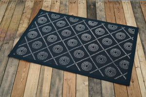 Cotton rug, Indigo colour, geometric print, 100% cotton, tribal, rustic decor, rugs, small rug, size 24X36 inches