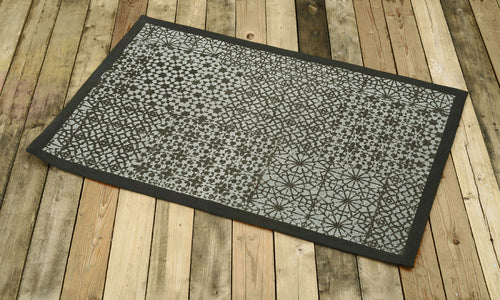 Cotton rug, grey colour, geometric print, 100% cotton, tribal, rustic decor, rugs, small rug, size 24X36 inches