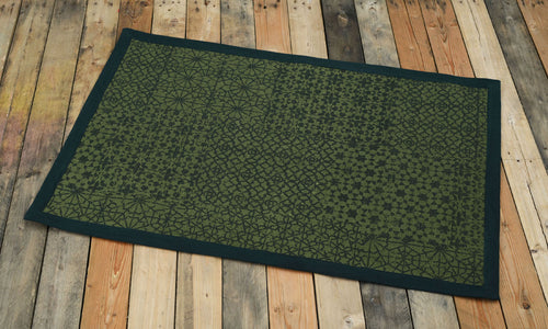 Cotton rug, green colour, geometric print, 100% cotton, tribal, rustic decor, rugs, small rug, size 24X36 inches