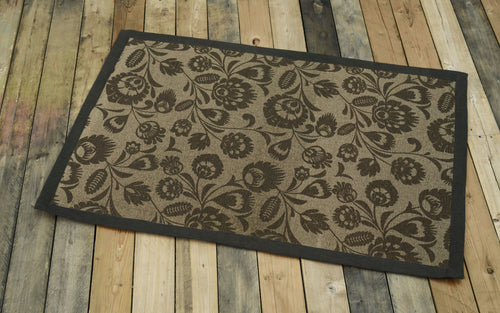 Cotton rug, brown colour, floral, 100% cotton, rustic decor, rugs, small rug, size 24X36 inches