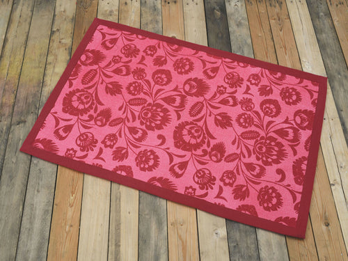 Cotton rug, garnet colour, floral, 100% cotton, rustic decor, rugs, small rug, size 24X36 inches