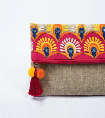 Foldover clutch, linen bag, embroidery, applique, boho bag, 6X9 inches