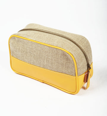 Toiletry bag, makeup bag, yellow, linen, faux leather, make up bag, cosmetic bag, travel gift