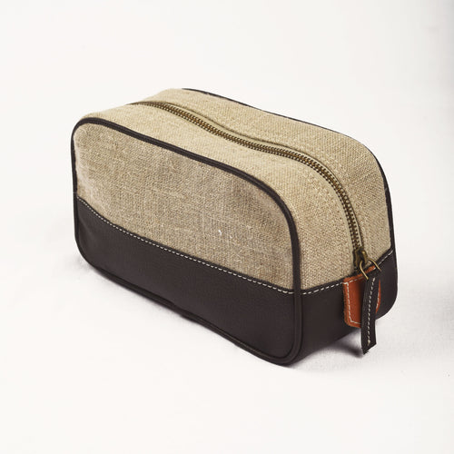 Toiletry bag, makeup bag, dark brown, linen, faux leather, make up bag, cosmetic bag, travel gift