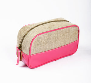 Toiletry bag, makeup bag, bright pink, faux leather, linen, make up bag, cosmetic bag, travel gift