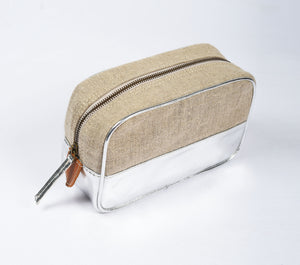 Toiletry bag, makeup bag, silver, faux leather, linen, make up bag, cosmetic bag, travel gift