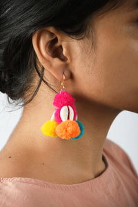 Bohemian earring, pom pom earrings, multicolour, tribal jewelry, boho earrings, threader earring