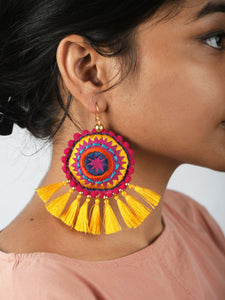 Mandala earring, yellow tassel, multicolour, Boho jewelry, threader earrings, tribal earrings