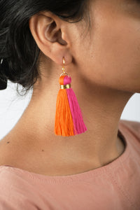 Tassel earring, two colour, pink-orange, Boho jewelry, threader earrings, tribal earrings, danglers