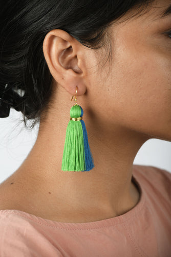 Tassel earring, two colour, blue-green, Boho jewelry, threader earrings, tribal earrings, danglers