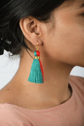 Tassel earring, two colour, turquoise earrings, Boho jewelry, threader earrings, tribal earrings, fringe earrings, danglers