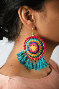 Mandala earring, turquoise tassel, multicolour, Boho jewelry, threader earrings, tribal earrings