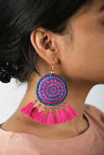 Tassel earring, pink tribal earrings, Boho jewelry, threader earrings, dangle earrings