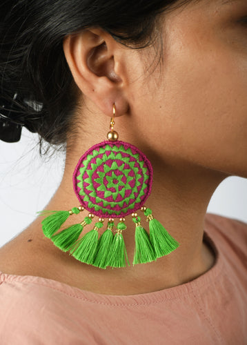 Tassel earring, green tribal earrings, Boho jewelry, threader earrings, dangle earrings