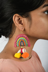 Bohemian earring, fan shape dangles, multicolour, tribal jewelry, threader earring, pompom earrings