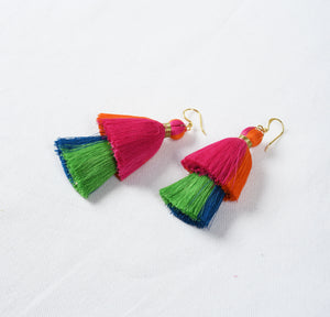 Tassel earring, 2 tier, multicolour, Boho jewelry, threader earrings, tribal earrings