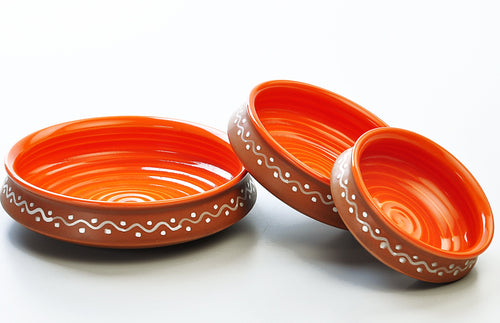 Terracotta and Orange Urli Serving Set (Set of 3)