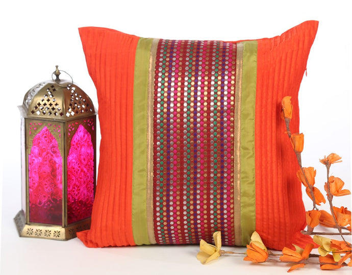 ANS pin-tucked orange with multicolored dotted brocade and gold trims