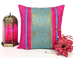 ANS fuchsia with contrast floral jacquard and pleats