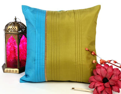 ANS turquoise and olive with broad pleats and gold insert