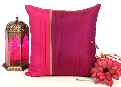 ANS pink and purple with broad pleats and gold insert
