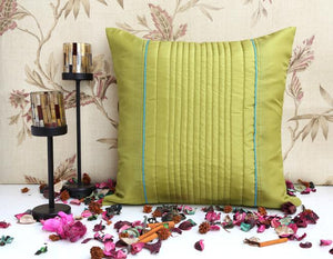 ANS lime green uneven quilted cushion cover with contrast piping
