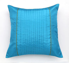 ANS turquoise uneven quilted cushion cover with contrast piping