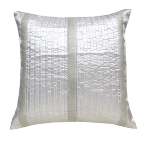 ANS White polysilk pintucked cushion with silver brocade panels