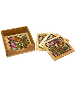 Handpainted Patachitra Fish Coasters set of 4 with Box