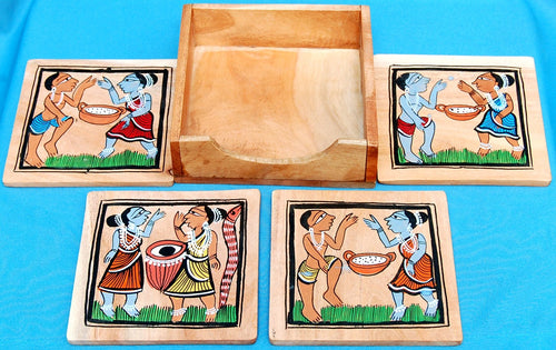 Handpainted Patachitra Tribal Coasters set of 4 with Box