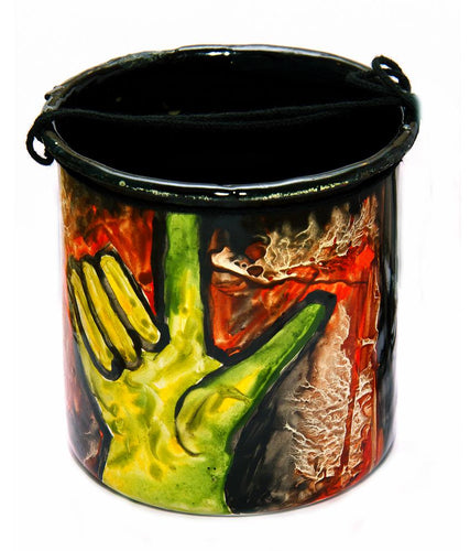 Enamel Plant Holder with Increase Greenery Save Earth