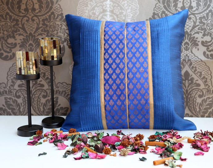 ANS Sea blue pleated cushion with gold and navy brocade