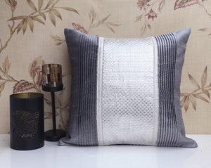 ANS Silver Slub PC pleated cushion with silver checkered brocade.