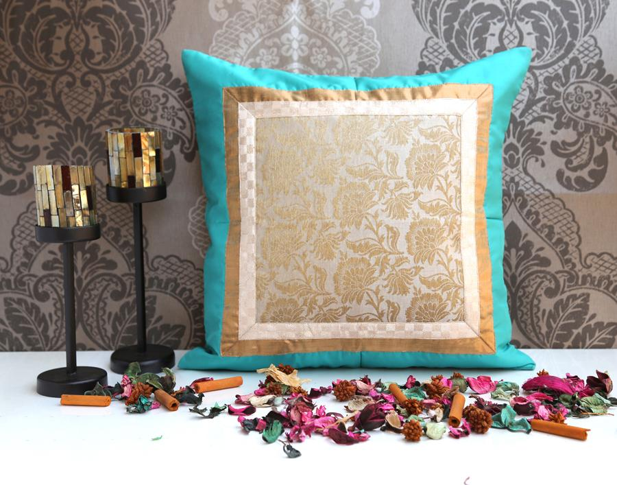 ANS Sea Green cushion with offwhite and gold jacquard sq patch