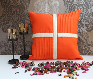 ANS Orange cushion cover with criss cross brocade patti